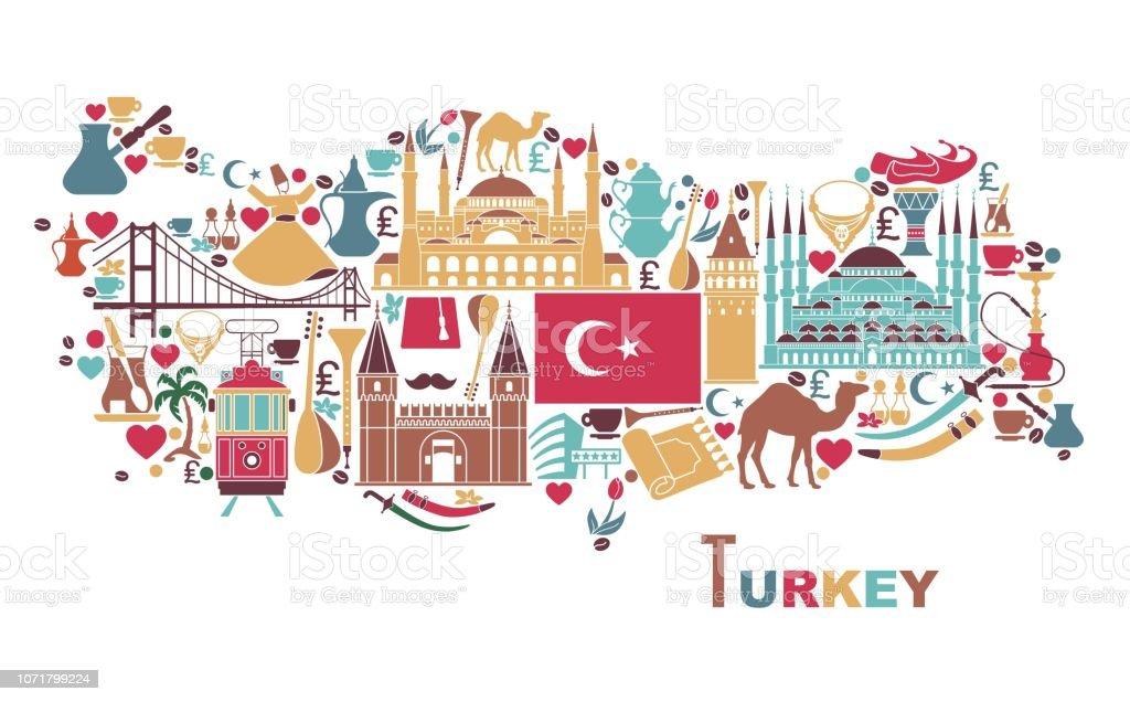 Harita Şeklinde Türkiyenin Geleneksel Turizm Sembolleri Stok ...