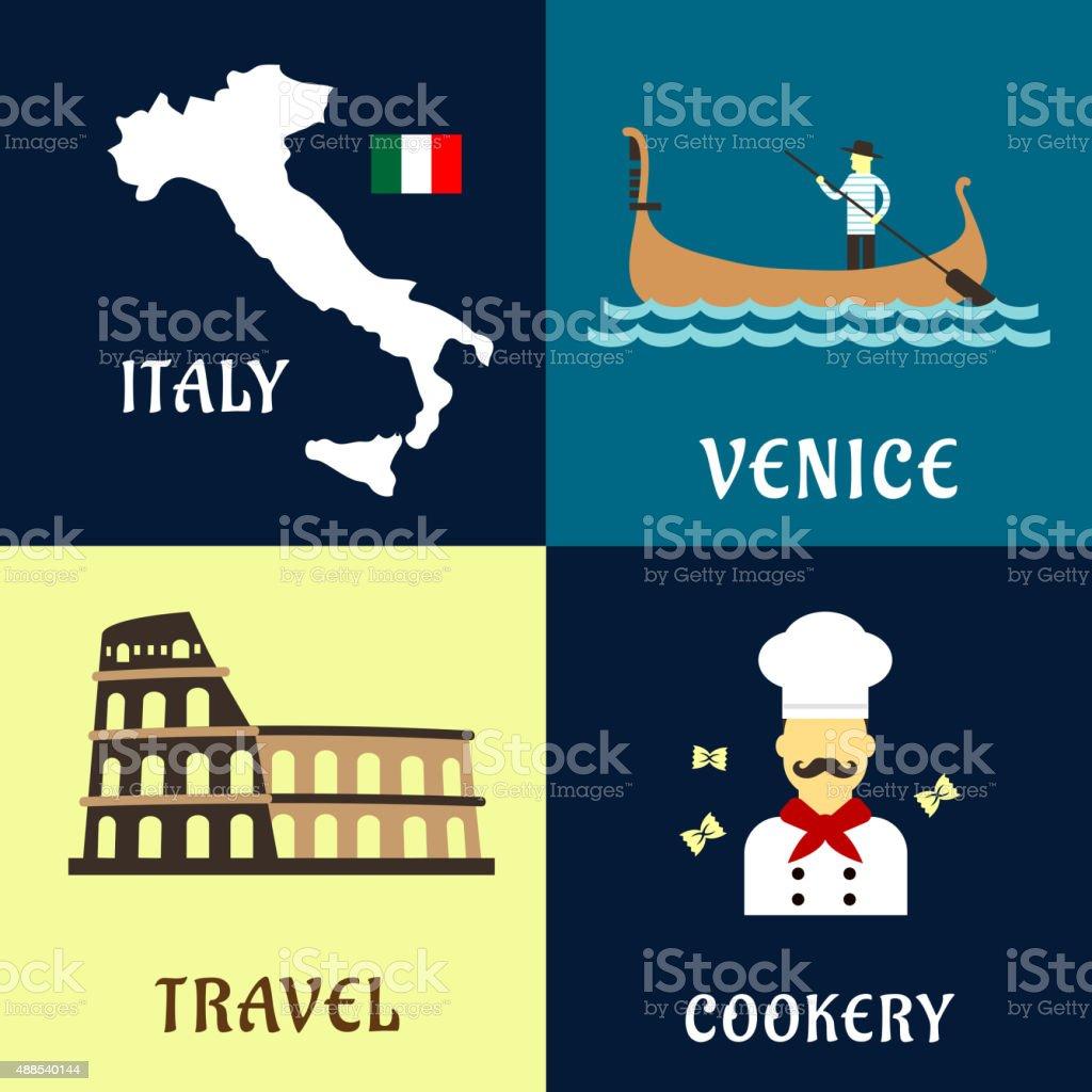 Traditional travel italian flat icons vector art illustration