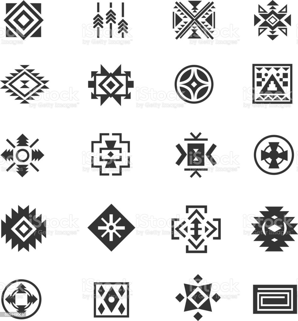 Traditional tribal mexican symbols navajo ethnic culture vector traditional tribal mexican symbols navajo ethnic culture vector tattoo icons for print royalty biocorpaavc Image collections