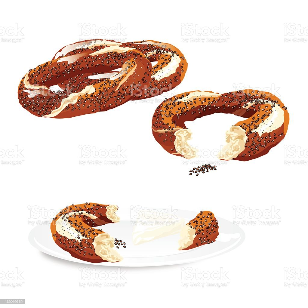 Traditional Turkish Bagel vector art illustration