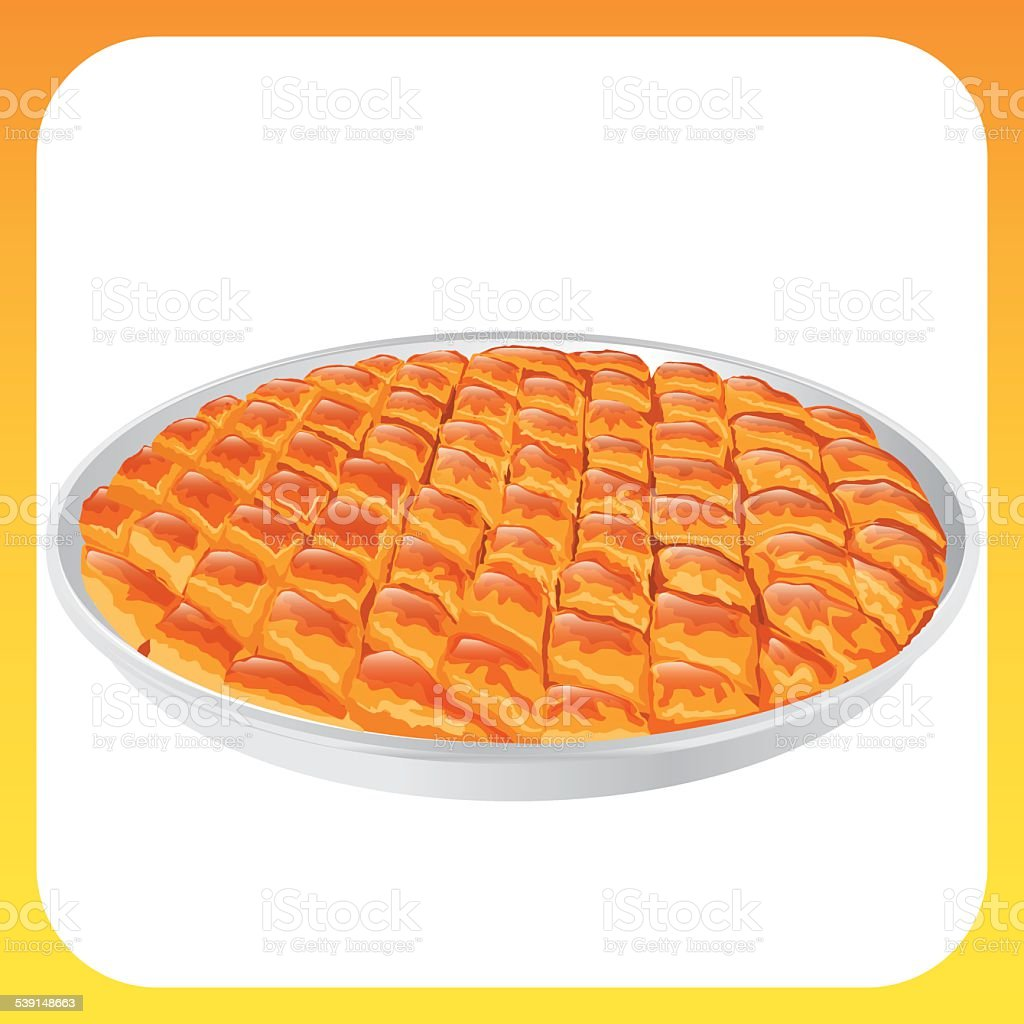 Traditional Turkish Baklava vector art illustration