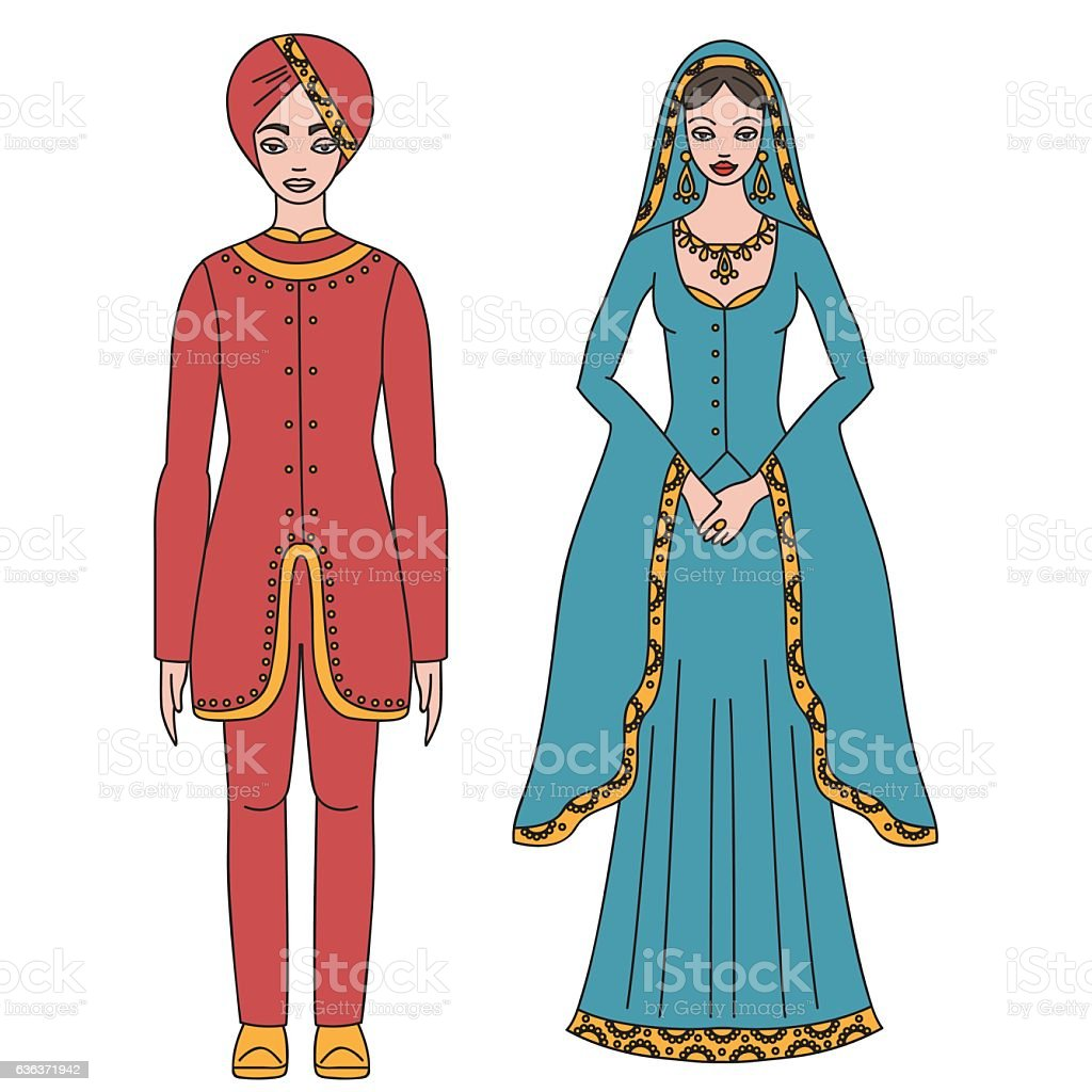 Traditional turkish clothing  man and woman sultan costume isolated royalty-free traditional turkish  sc 1 st  iStock & Traditional Turkish Clothing Man And Woman Sultan Costume Isolated ...