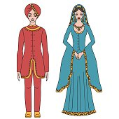 Traditional turkish clothing, , man and woman sultan costume isolated