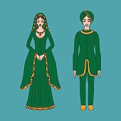 Traditional turkish clothing, national middle east cloth, man, woman sultan