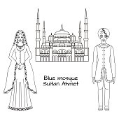 Traditional turkish clothing, sultan costume and The Blue Mosque, Turkey