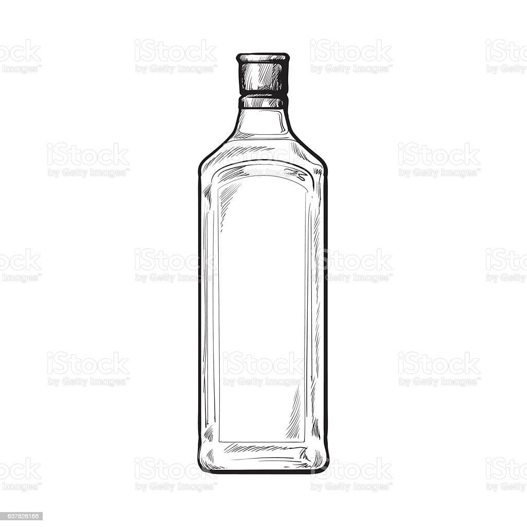 Traditional unlabeled, unopened blue gin glass bottle, sketch vector illustration vector art illustration