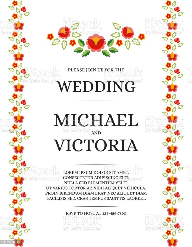 Traditional Wedding Invite Card Template Vector Beautiful Rose