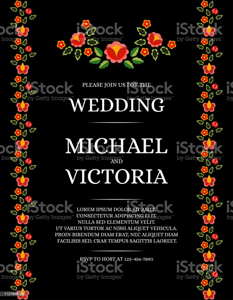 Traditional Wedding Invite Card Template Vector Classic Rose