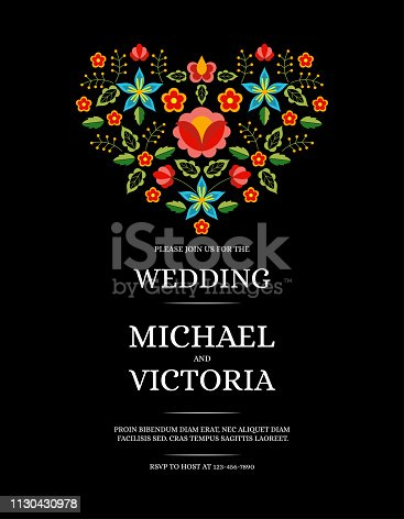 Traditional wedding invite card template vector. Flowers heart save the date design or party invitation. Polish folk pattern on black background.