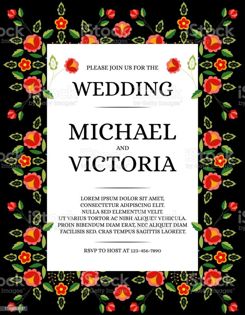 Mariage Traditionnel Invite Carte Modele Vecteur Rose Floral