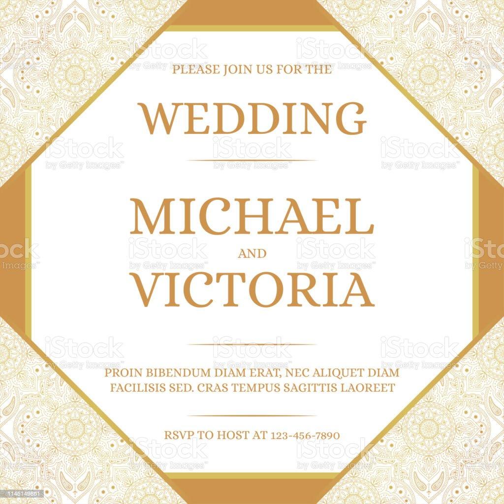 Mariage Traditionnel Invite Carte Modele Vecteur Motif