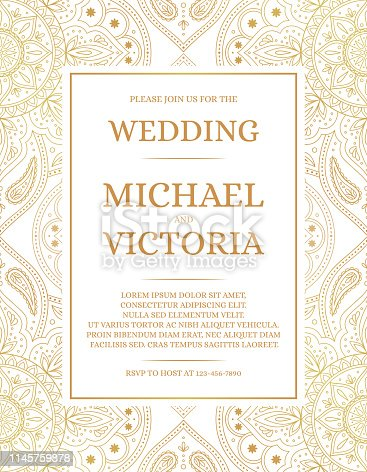 Traditional wedding invite card template vector. Vintage floral pattern with golden luxury background. Elegant save the date design or bridal shower party invitation.