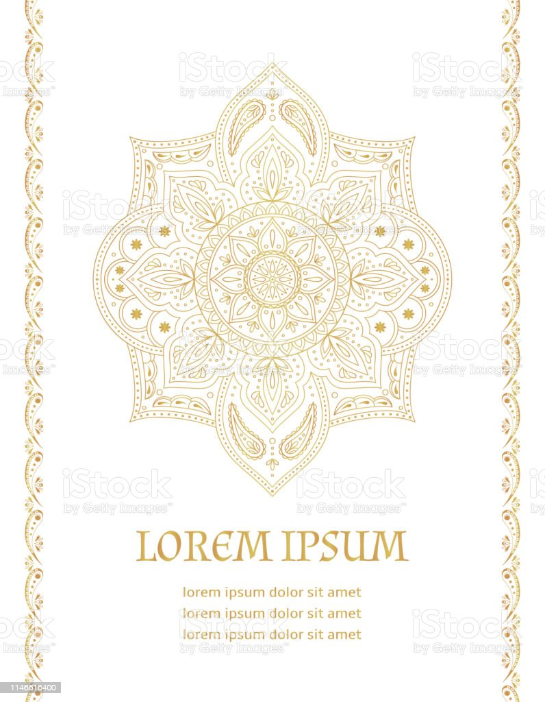 Traditional Wedding Invite Card Template Vector Vintage Floral Pattern With Golden Luxury Background Eastern Save The Date Design Stock Illustration