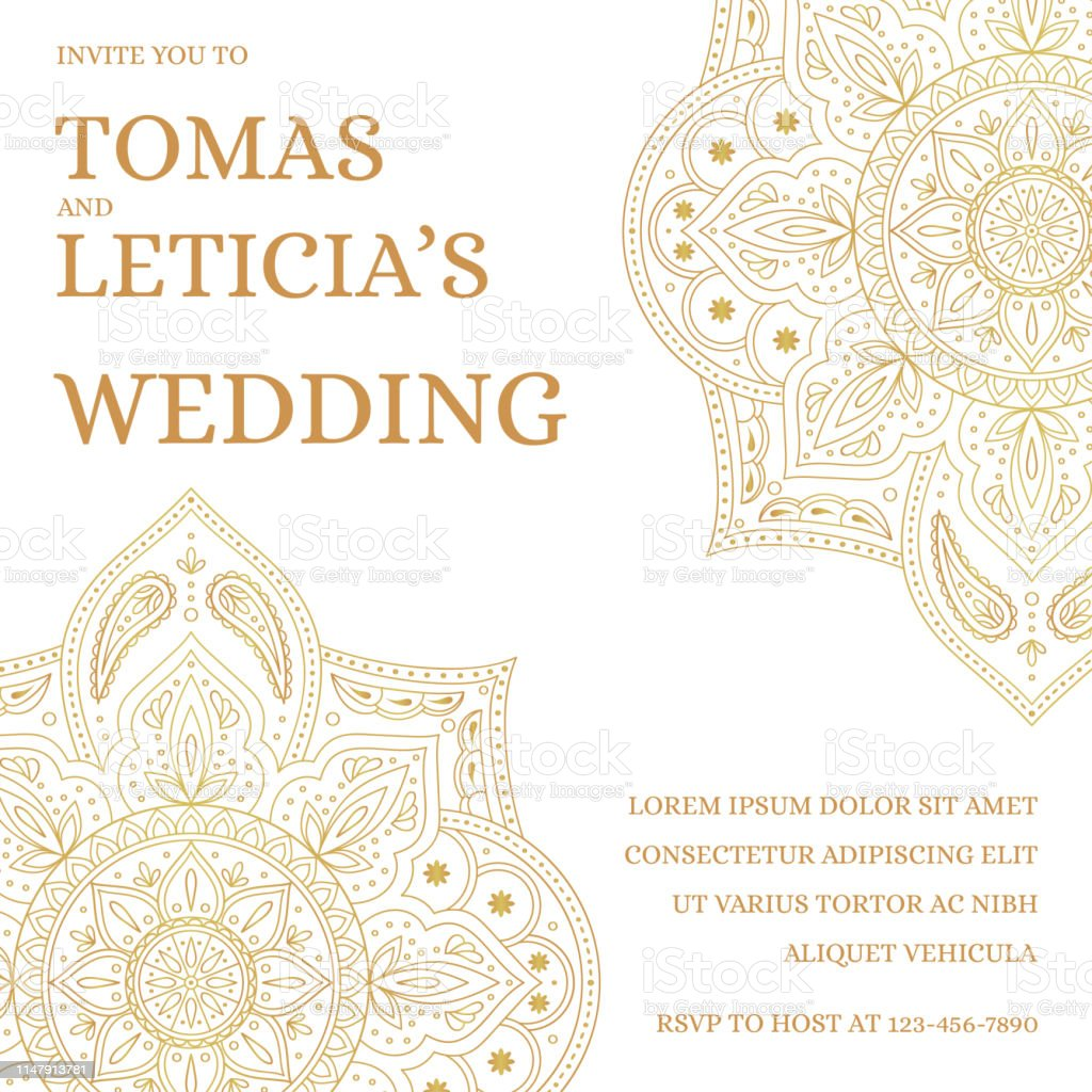Traditional Wedding Invite Card Template Vector Vintage