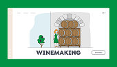 Traditional Wine Making Craft, Industry Landing Page Template Female Winemaker Character Tasting Wine at Wine Cellar with Oak Barrels. Winemaking Fermentation. Linear People Vector Illustration