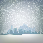 Traditional winter urban outdoor illustration with snow
