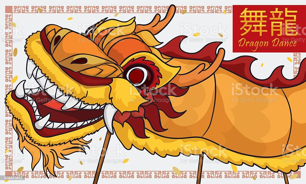 Traditional Yellow Chinese Dragon Dance with Confetti for New Year vector art illustration