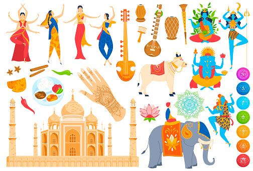 Traditions, culture landmark of India vector illustration set, cartoon flat hinduism Indian god or goddess, dancing woman, food