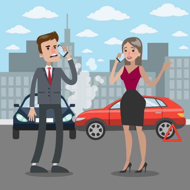 bildbanksillustrationer, clip art samt tecknat material och ikoner med trafik olycka illustration. - krockad bil