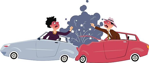 bildbanksillustrationer, clip art samt tecknat material och ikoner med traffic accident - krockad bil