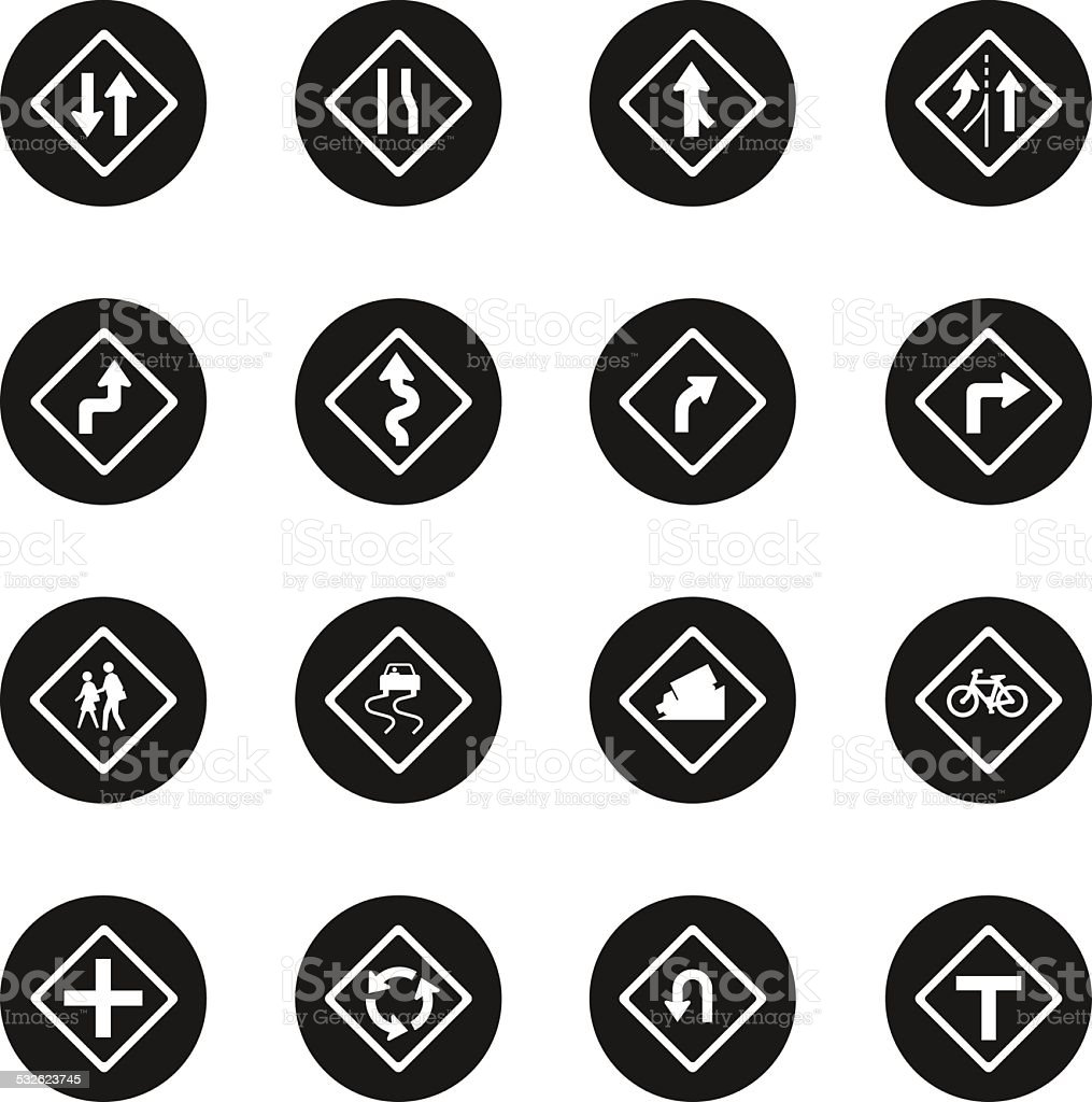 Traffic And Road Sign Icons - Black Circle Series vector art illustration
