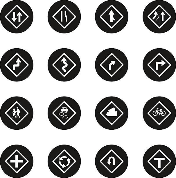 ilustraciones, imágenes clip art, dibujos animados e iconos de stock de señal de tráfico y carreteras serie iconos-círculo negro - señalización vial