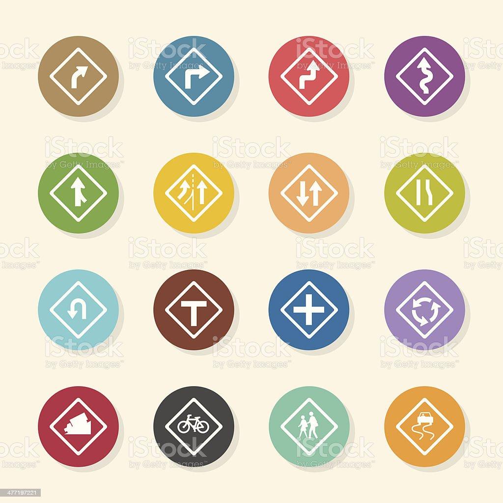 Señal de tráfico y carreteras iconos-Color círculo serie - ilustración de arte vectorial