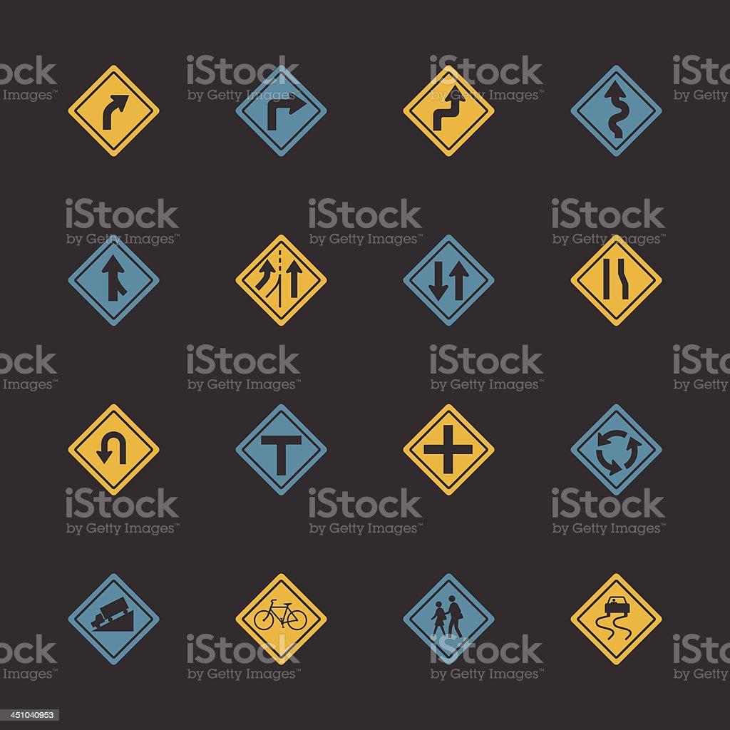 Señal de tráfico y carreteras iconos-Color serie/EPS10 - ilustración de arte vectorial