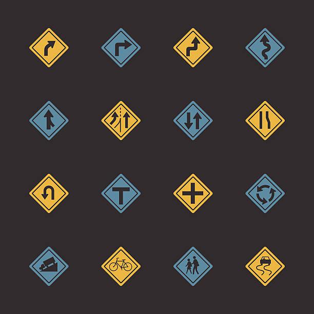 ilustraciones, imágenes clip art, dibujos animados e iconos de stock de señal de tráfico y carreteras iconos-color serie/eps10 - señalización vial