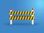 Traffic barrier on blue background