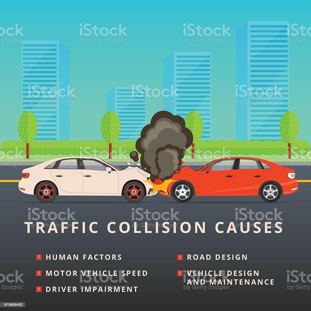 Traffic collision causes. Car crash vector illustration vector art illustration