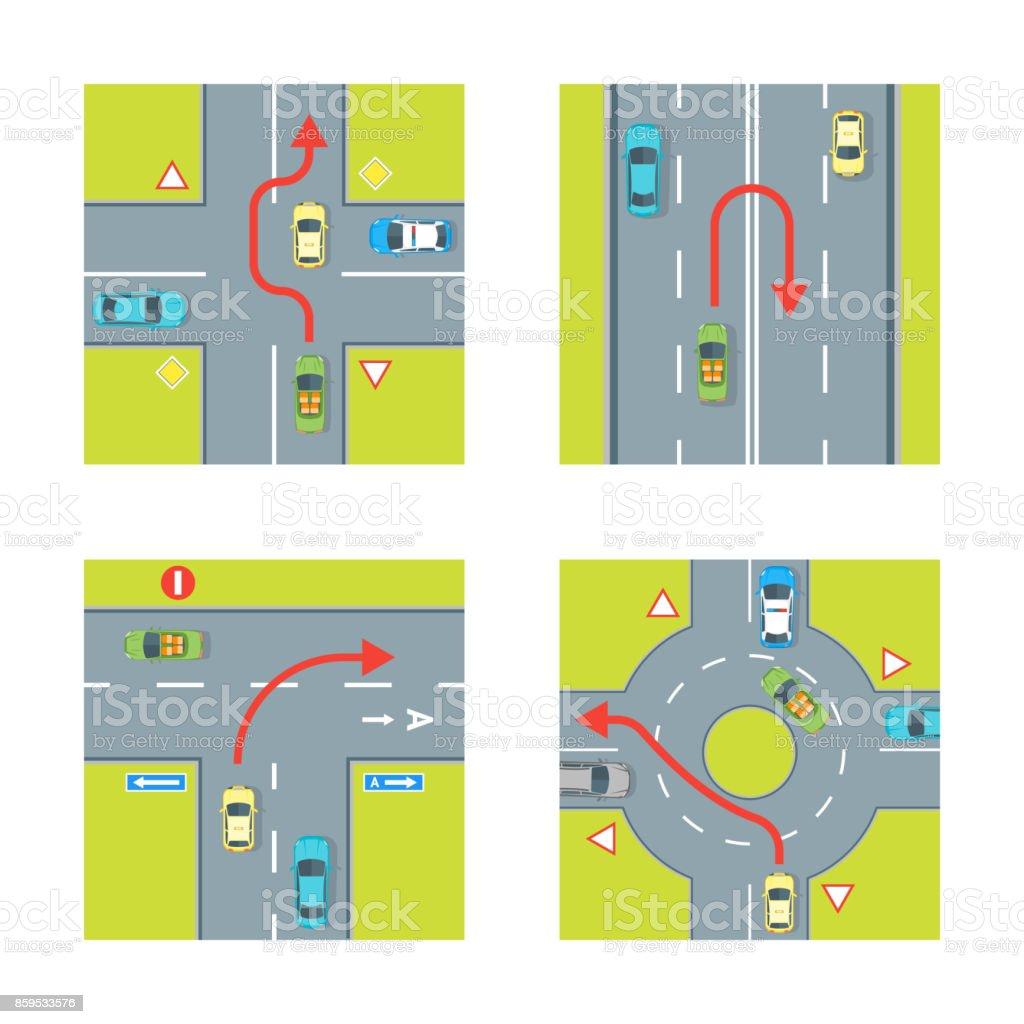 Traffic Conditions Set. Vector vector art illustration