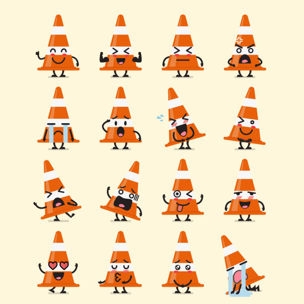 traffic cone character emoji set - kiss stock illustrations