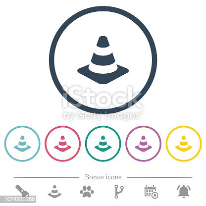 Traffic cone flat color icons in round outlines. 6 bonus icons included.