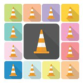 Traffic cone Icon color set vector illustration