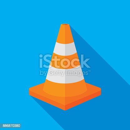 Vector illustration of an orange traffic cone against a blue background in flat style.
