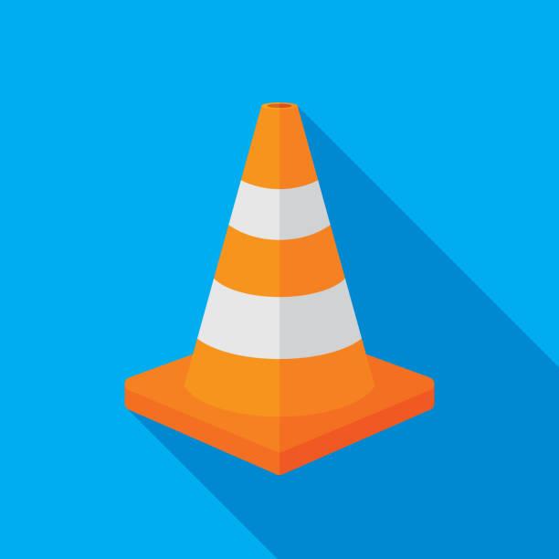 illustrations, cliparts, dessins animés et icônes de assurant le cône icône plate - chantier
