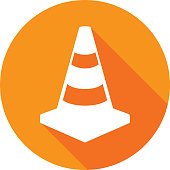 Vector illustration of an orange traffic cone icon in flat style.