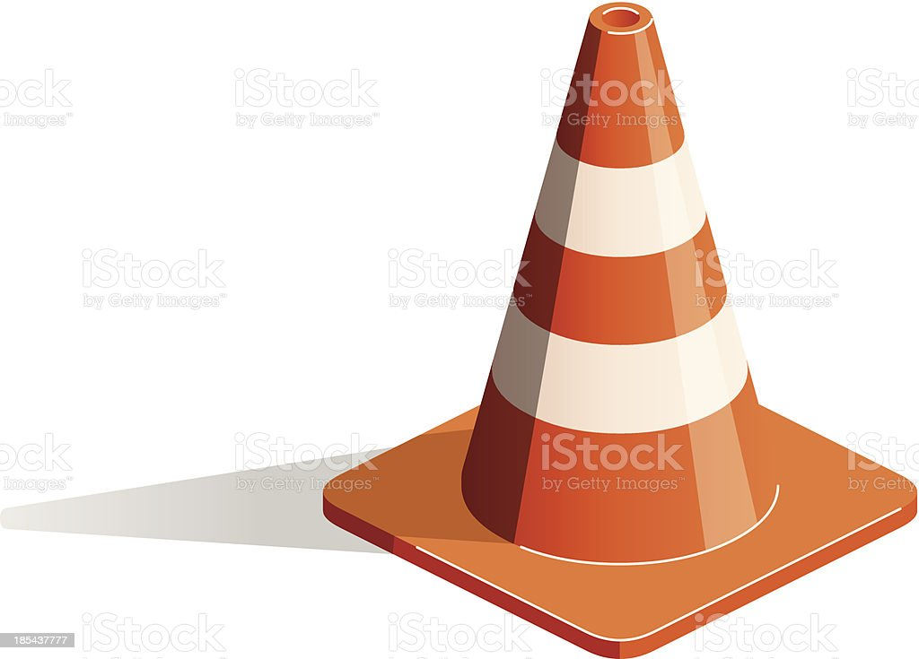 Close-up of 3D illustration of traffic cone on white royalty-free stock vector art