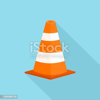 istock Traffic Cone with long shadow isolate on blue background. 1285568750