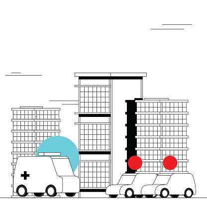 Traffic control and fast ambulance emergency deployment. Self-driving vehicles. Smart city and integration of the new 5G network. Bold black and white illustration with bright colorful highlights.