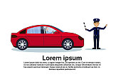 Traffic Controller Policeman With Car Isolated Over Background With Copy Space