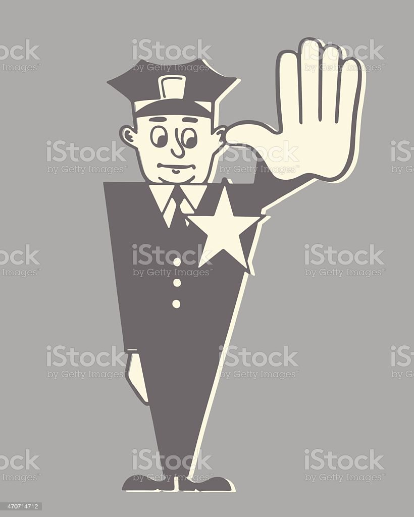 Traffic Cop with Hand Held out to Stop vector art illustration