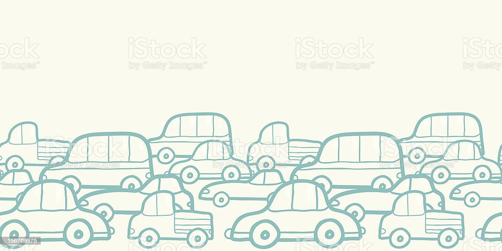 Traffic doodle horizontal seamless pattern royalty-free stock vector art
