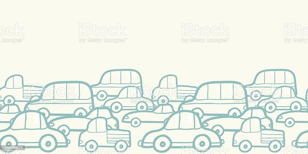 Traffic doodle horizontal seamless pattern vector art illustration