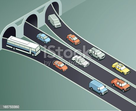 Traffic from different lanes of a tunnel coming together. View more in this style.