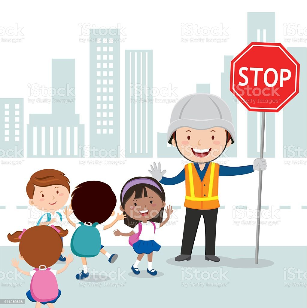 Traffic guard and school kids vector art illustration