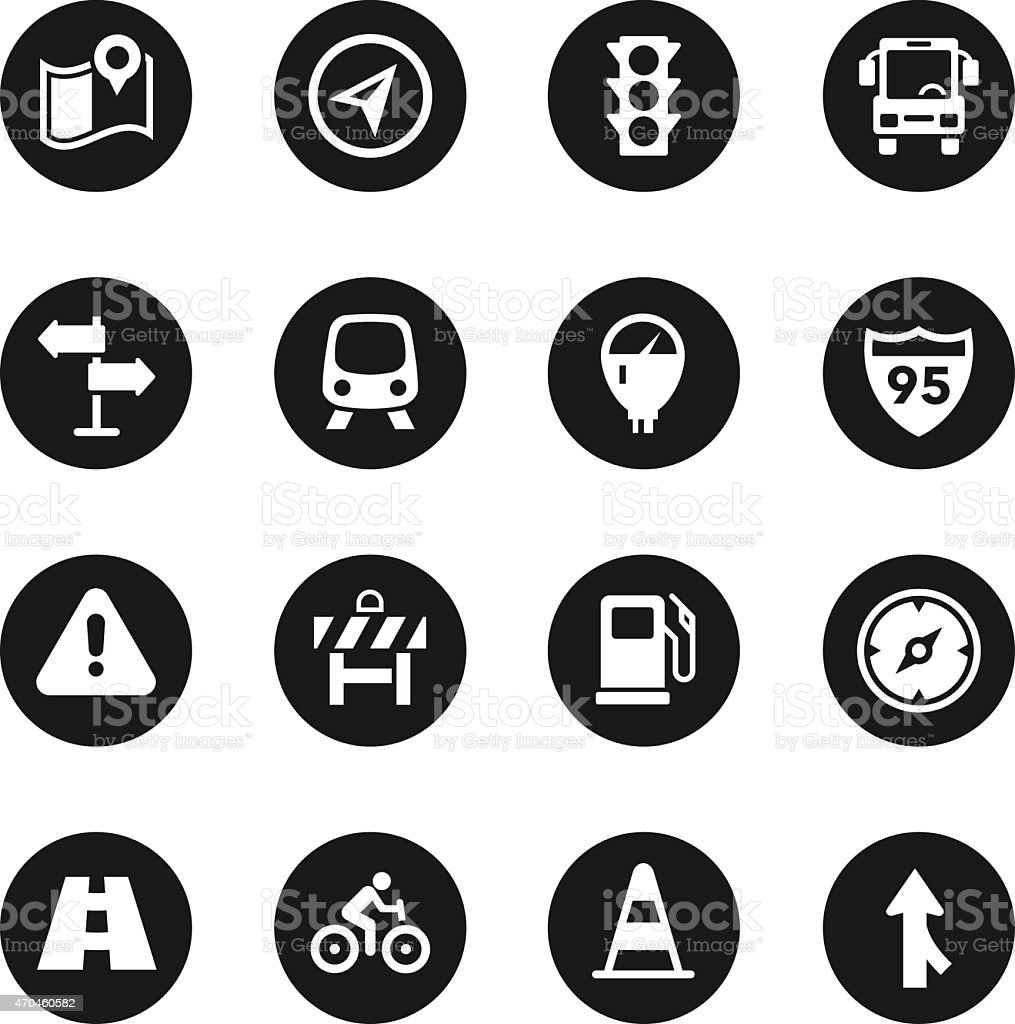 Traffic Icons - Black Circle Series vector art illustration