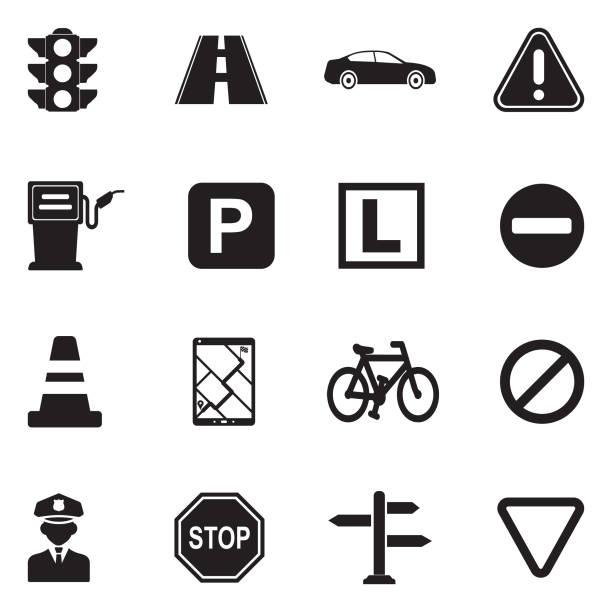 Traffic Icons. Black Flat Design. Vector Illustration. Traffic, Street Sign, Road, Transportation, Vehicles driveway stock illustrations