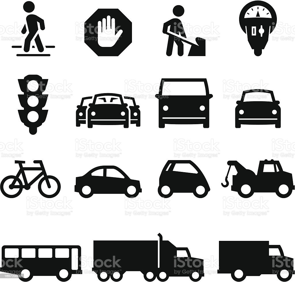Traffic Icons - Black Series vector art illustration